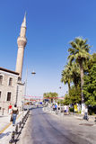 Bodrum,Turkey 2014 .Typical turkish street with mosque Stock Photography
