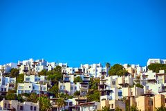 Bodrum, Turkey: Typical Aegean architecture with white cubic houses. Bodrum, Turkey : Typical Aegean architecture with white cubic houses stock photography