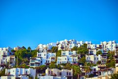 Bodrum, Turkey: Typical Aegean architecture with white cubic houses. Bodrum, Turkey : Typical Aegean architecture with white cubic houses stock image