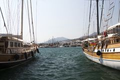 Bodrum, view from Mugla, Turkey. Port with sailing boats Stock Image