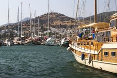 Bodrum, view from Mugla, Turkey. Port with sailing boats Stock Photos