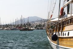 Bodrum, view from Mugla, Turkey. Port with sailing boats Stock Photography
