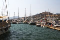 Bodrum, view from Mugla, Turkey. Port with sailing boats Royalty Free Stock Photo