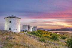 Bodrum windmills in Sunset. Royalty Free Stock Images