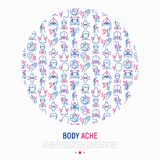 Body aches concept in circle with thin line icons royalty free illustration