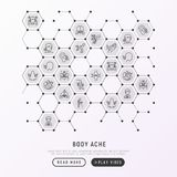 Body aches concept in honeycombs. With thin line icons: migraine, toothache, pain in eyes, ear, nose, when urinating, chest pain, menstrual, joint, arthritis royalty free illustration