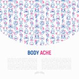 Body aches concept with thin line icons. Migraine, toothache, pain in eyes, ear, nose, when urinating, chest pain, menstrual, joint, arthritis, rheumatism vector illustration