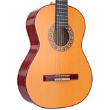 Body acoustic guitar with strings, close view. Wooden body acoustic guitar with nylon strings, close view. 3D graphic Royalty Free Stock Photos