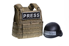 Body armor and helmet for journalis isolated Royalty Free Stock Images