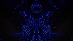 Body art ultravioletto sotto forma di microcircuito sul corpo di una ragazza che movimenti caotici verso musica, pubblicante una  stock footage