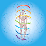 Body and Aura on Lotus Flower Background Stock Images