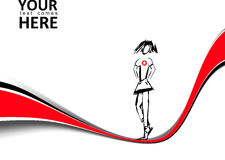 Body background. Red line vector background with a girl Stock Images
