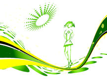 Body background. Green line vector background with a girl Royalty Free Stock Photos