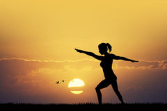 Body balance at sunset Royalty Free Stock Images