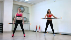 Body Bar Exercise. Slow motion stock footage