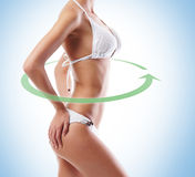 Body of a beautiful woman on ablue background Stock Images
