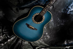 Body of blue acoustic guitar Stock Images