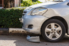 Body of blue car get damaged Royalty Free Stock Photo