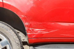 Body of blue car get damaged Stock Photography