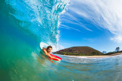 Body Boarder on Ocean Wave Royalty Free Stock Photos