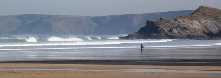 Body boarder at Porth Beach Royalty Free Stock Photography