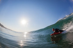 Body-Boarder Glass Wave Surfing  Stock Image