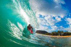 Body Boarder Surfing Stock Image