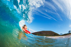 Body Boarder Surfing. Blue Ocean Wave Royalty Free Stock Photo