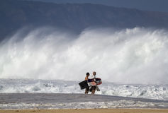 Body boarders check out the surf on the north shore of Oahu Stock Image