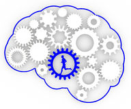 Body brain gears ideas man running Royalty Free Stock Image