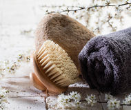 Body brush and stone over fresh flowers for beauty. Zen detox still-life - closeup of body brush and towel over stone, fresh white spring flowers and mineral Stock Photography