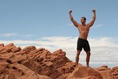 Body builder. Muscular body builder man in black shorts Stock Photo