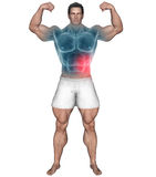 Body builder with abs pain highlighted red area Royalty Free Stock Photography