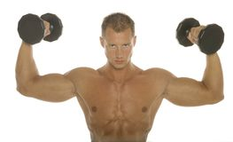 Body builder arm workout Stock Photo