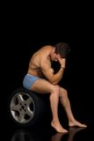 Body Builder, artistic pose Stock Photo
