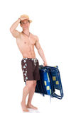 Body Builder, beach chair Stock Photography