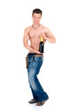 Body Builder, champagne Royalty Free Stock Photography
