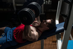 Body builder doing bench press for chest Stock Images