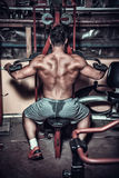Body builder doing heavy weight exercise for back Stock Photo