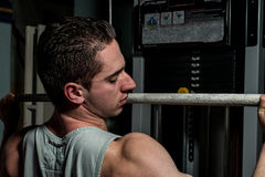 Body builder doing heavy weight exercise for back Royalty Free Stock Photo