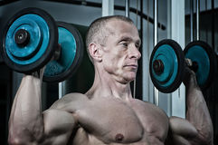 Body Builder Exercising With Weights Royalty Free Stock Photography