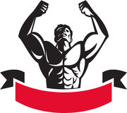 Body Builder Flexing Muscles Banner Retro. Illustration of a male body builder flexing muscles looking up viewed from front set on isolated white background with Stock Photography