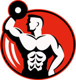 Body builder lifting weights. Human figure body builder lifting a dumbbell set inside a circle Stock Photos