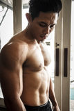Body Builder looking his muscle Stock Image