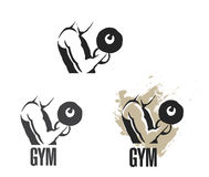 Body builder man. Working out with weights stock photos