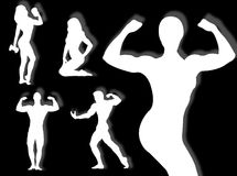 Body builder silhouette Royalty Free Stock Images