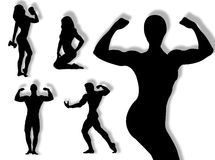 Body builder silhouette. In different poses and attitudes Royalty Free Stock Images