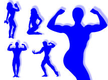 Body builder silhouette Royalty Free Stock Photos