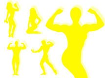 Body builder silhouette Stock Photos