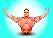 Body builder triangle on blue background Royalty Free Stock Images
